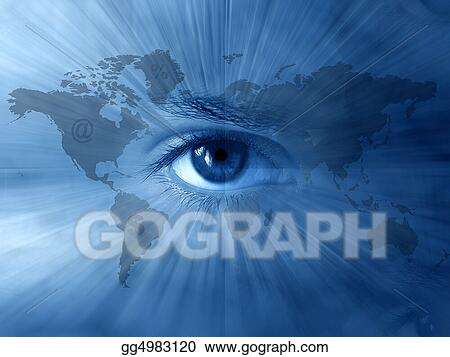 Stock Illustrations World Map And Blue Eyes Stock Clipart