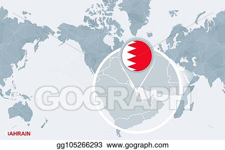 Bahrain On A World Map.Vector Clipart World Map Centered On America With Magnified