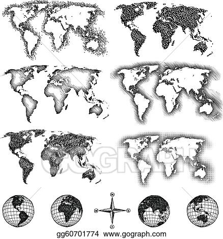 Vector art world map design elements pixels lines doodle world map design elements pixels lines doodle halftone gumiabroncs Choice Image