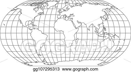 Vector Art - World map in robinson projection with meridians and