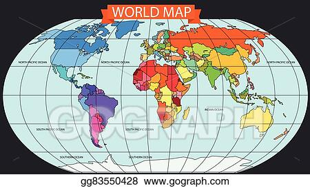 Vector Clipart World Map Infographic Template All Countries Are