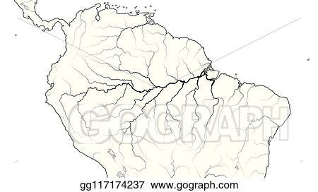 Clip Art Vector - World map of amazon selva region in south ...