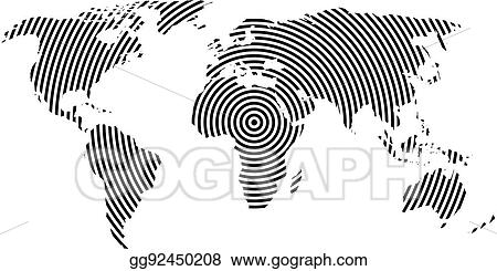 Vector clipart world map of black concentric rings on white world map of black concentric rings on white background worldwide communication radio waves concept modern design vector wallpaper gumiabroncs Gallery