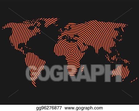 Vector clipart world map of orange concentric rings on dark grey world map of orange concentric rings on dark grey background worldwide communication radio waves concept modern design vector wallpaper gumiabroncs Gallery
