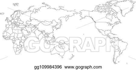 Clip Art Vector - World map outline contour silhouette ...