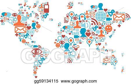 EPS Illustration World Map Shape Made With Social Media Icons - World map shape