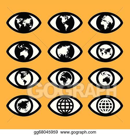Vector Art - World map sign in the eye, eye sign, vision ... on eye earth, eye mind map, eye egypt, eye clock, home depot map, an old map,