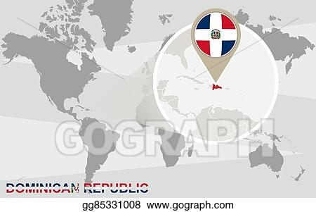 Vector Illustration - World map with magnified dominican ... on columbia on world map, cancun on world map, brazil on world map, bahamas on world map, nepal on world map, argentina on world map, korea on world map, uruguay on world map, bolivia on world map, guam on world map, aleutian islands on world map, ecuador on world map, cuba on world map, guadeloupe on world map, el salvador on world map, hawaii on world map, panama on world map, china on world map, france on world map, jamaica on world map,