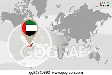Clip Art Vector - World map with magnified united arab emirates ...