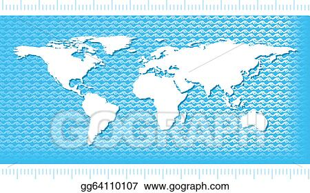 Vector art world map with water waves eps clipart gg64110107 world map with water waves gumiabroncs Gallery
