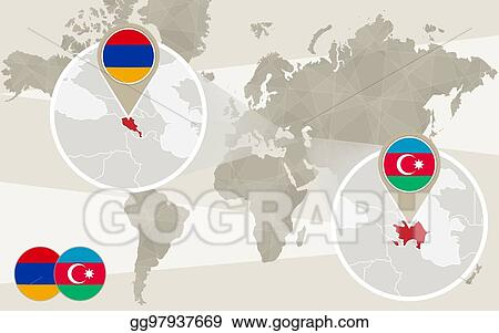 Eps Vector World Map Zoom On Azerbaijan Armenia Stock Clipart