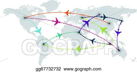 Vector art world travel with map and air plane clipart drawing world travel with map and air plane gumiabroncs Image collections