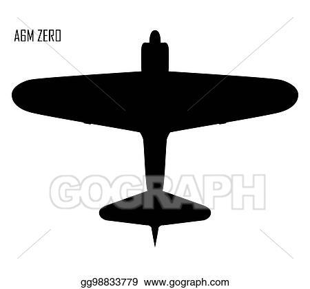 Vector Art World War Ii Mitsubishi A6m Zero Clipart Drawing