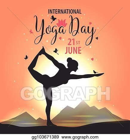 Vector Art World Yoga Day Vector Illustration Sunset Background Clipart Drawing Gg103671389 Gograph