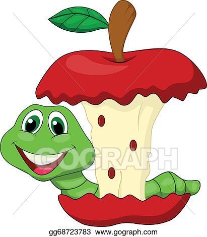 Vector Art Worm Eating Red Apple Cartoon Eps Clipart Gg68723783