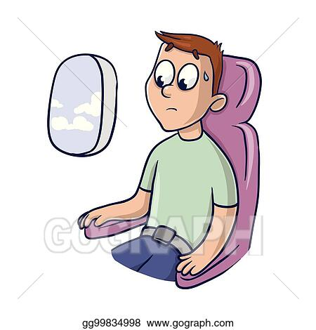 Clip Art Vector Worried Frightened Man In The Airplane Seat At
