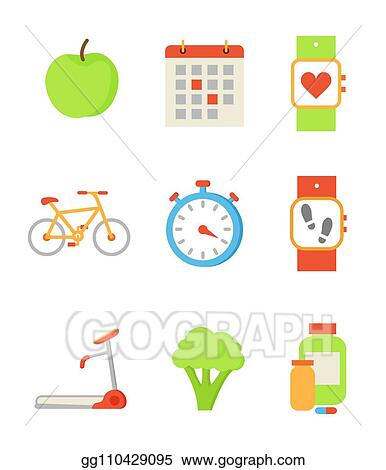 Vector Clipart - Wristwatch and apple icons set vector illustration