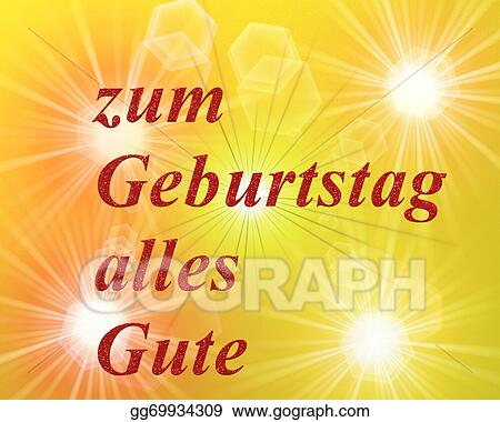 Clipart Written In German Letters Happy Birthday Card Stock