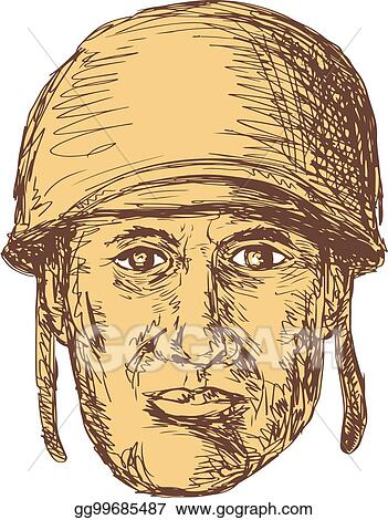 Vector Illustration Ww2 American Soldier Head Drawing Eps