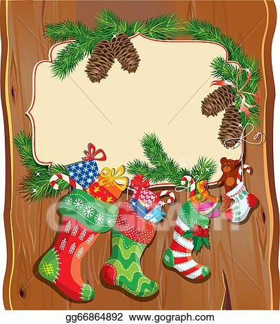 Vector Art X Mas And New Year Card With Family Christmas Stockings