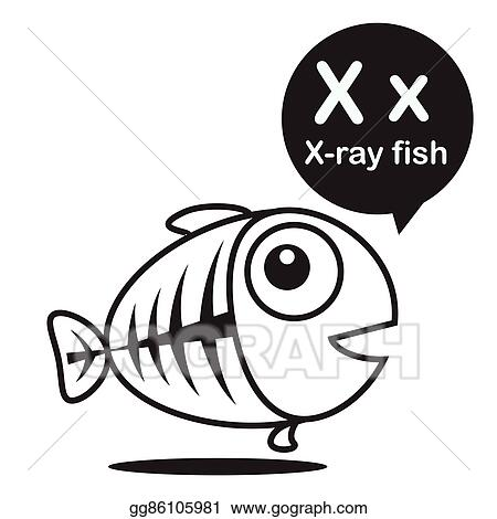 X x ray fish cartoon and alphabet for children to learning and coloring page vector illustration eps10