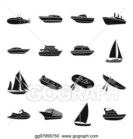 Stock Illustration Yacht Boat Liner Types Of Ship And Water