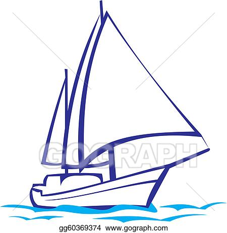 EPS Illustration - Yacht silhouette - sea voyage  Vector