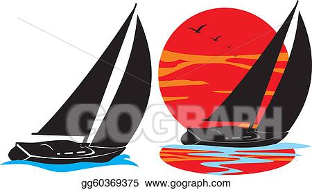 Clip Art Vector - Yachts silhouette - under sail  Stock EPS
