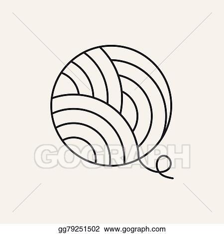 eps vector yarn ball line icon stock clipart illustration