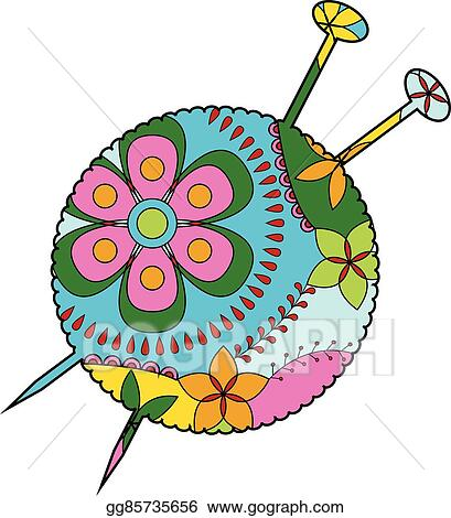 clip art vector yarn ball with needles colorful stock eps
