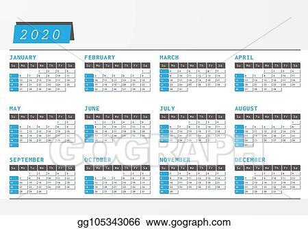 Office Calendar 2020 Vector Art   Year calendar 2020 office horizontal design. Clipart