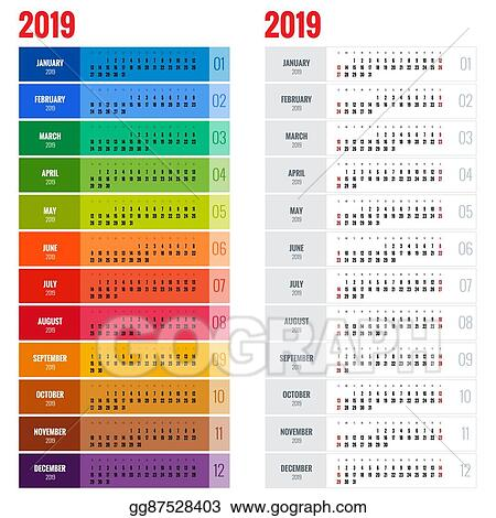 EPS Illustration - Yearly wall calendar planner template for 2019