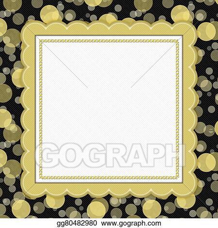 Stock Illustration - Yellow and black polka dot frame background ...