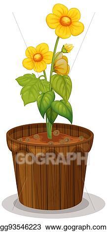 8ed4484ec331e Clip Art Vector - Yellow buttercup flowers in flowerpot. Stock EPS ...