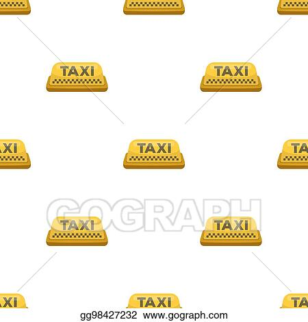 Stock Illustration - Yellow checker taxi with logo  equipment taxi