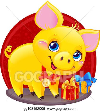 Vector Illustration - Yellow earthy pig with gift box for the new