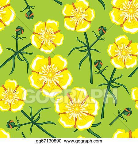 596bfeeb07284 Vector Stock - Yellow flower seamless pattern. Clipart Illustration ...