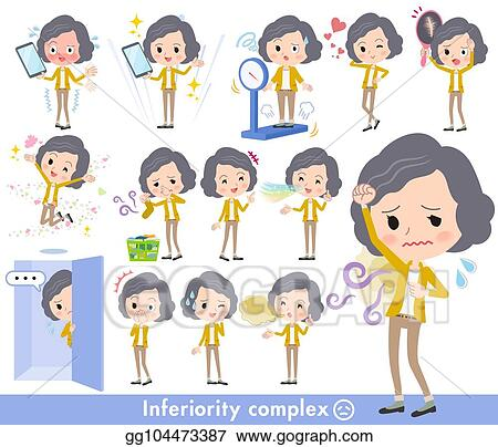 Vector Art Yellow Jacket Middle Women Complex Clipart Drawing