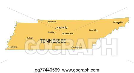 vector illustration yellow map of tennessee with indication of