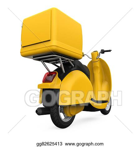 Drawing - Yellow motorcycle delivery box. Clipart Drawing ...