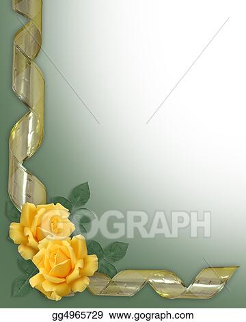Stock Illustrations Yellow Rose And Gold Ribbon Border Stock