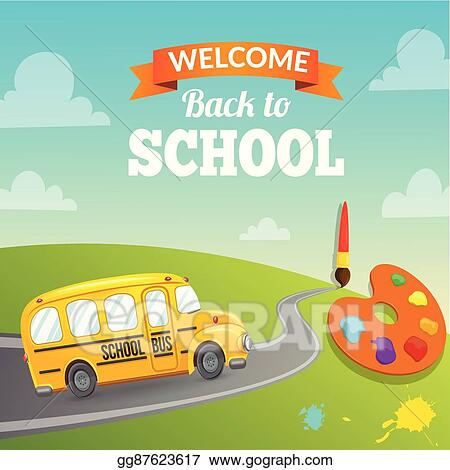 eps illustration yellow school bus and text vector clipart