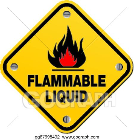 Vector Art Yellow Sign Flammable Liquid Clipart Drawing