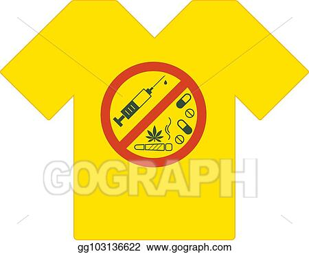 Clip Art Vector Yellow Tee Shirt No Drugs Allowed Drugs