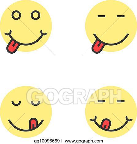Vector Art Yellow Thin Line Yummy Emoji Faces Eps Clipart