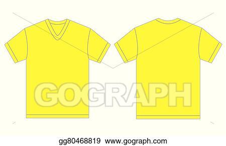 eps illustration yellow v neck shirt design template for men