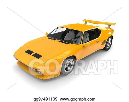 Drawing Yellow Vintage Concept Race Car Top View Studio Shot