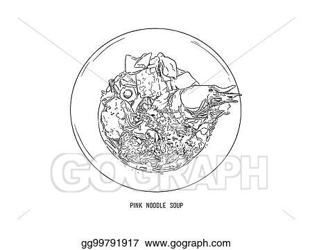 Eps Illustration Yen Ta Four Pink Noodle Soup Hand Draw Sketch