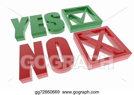Stock Illustration Yes And No Symbols Clipart Drawing Gg72660669