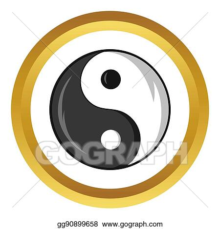 Drawing Yin And Yang Symbol Icon Cartoon Style Clipart Drawing